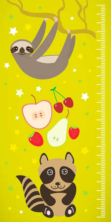 fascinated: Raccoon sloth and apple pear strawberry cherry on green background Children height meter wall sticker. Vector illustration
