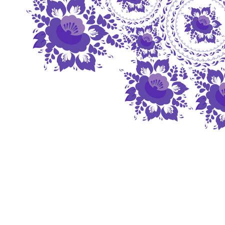 Vintage minable carte de voeux Chic avec des fleurs et des feuilles fleurs violettes sur fond blanc Vector Banque d'images - 42465316