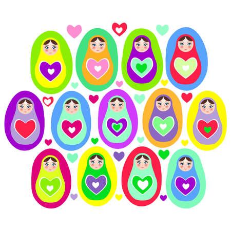 muñecas rusas: Muñecas rusas Matryoshka sobre un fondo blanco, colores brillantes. Cumpleaños, fiesta de bienvenida, fiesta, diseño. Ilustración vectorial Vectores