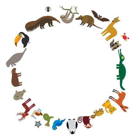 manatee: Round frame. Sloth anteater toucan lama bat seal armadillo boa manatee monkey dolphin Maned wolf raccoon jaguar Hyacinth macaw lizard turtle crocodile deer penguin Blue-footed booby Capybara. Vector illustration