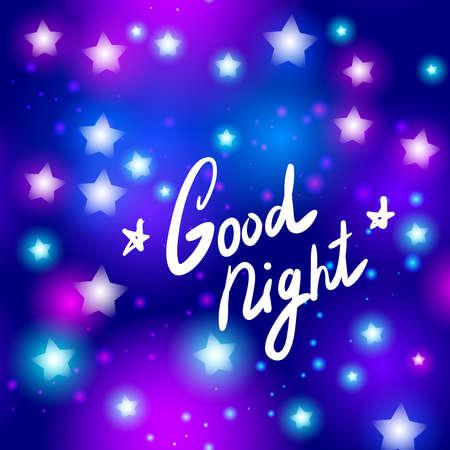 good night: Buena carta de estrella de la noche de ne�n abstracta sobre fondo azul. Ilustraci�n vectorial