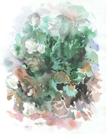 monotype: illustration abstract landscape brown, green watercolor paint in monotype technique, abstract texture background for your design