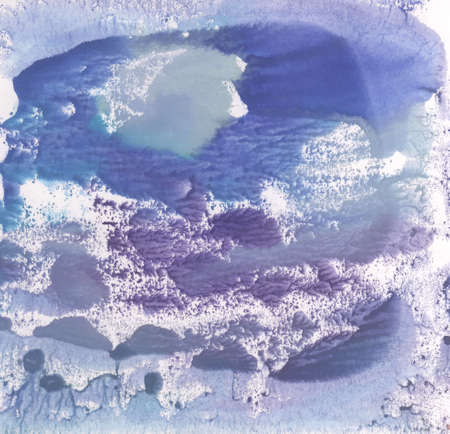 monotype: Abstract winter landscape illustration blue watercolor paint in monotype technique, texture background for your design