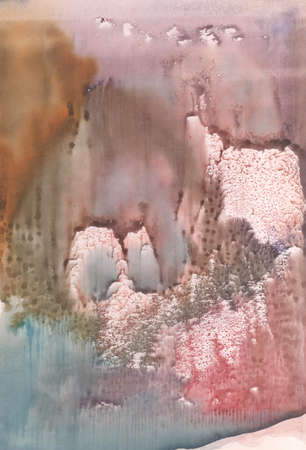 monotype: illustration abstract landscape brown, pink and blue watercolor paint in monotype technique, abstract texture background for your design Stock Photo