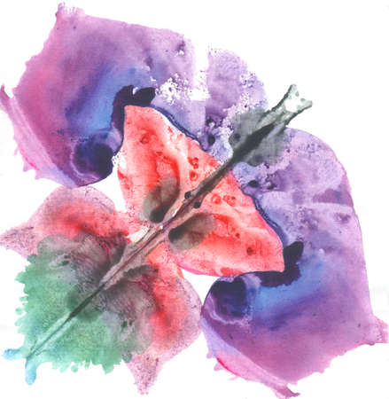 monotype: illustration pink red and blue Rorschach test, watercolor, monotype, abstract colorful symmetric painting in color Stock Photo