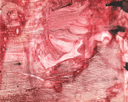 monotype: red Black paint in monotype technique, abstract texture background for your design ebru illustration Stock Photo