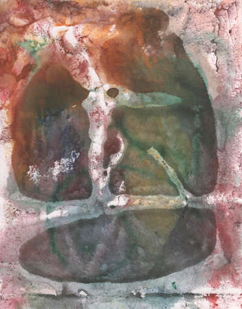 monotype: illustration brown, pink watercolor paint in monotype technique, abstract texture background for your design Stock Photo
