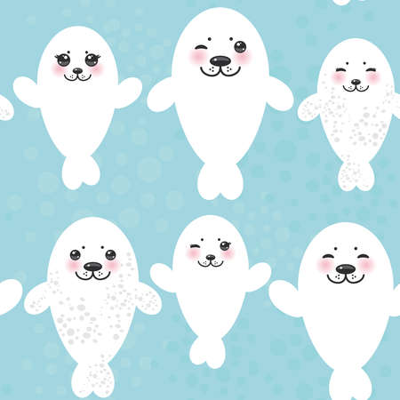 pups: Seamless pattern Funny white fur seal pups, cute winking seals with pink cheeks and big eyes. Kawaii animals on blue background. Vector illustration Illustration