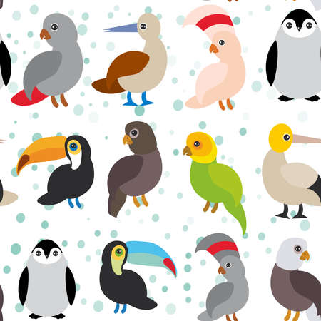 seamless pattern Cute Cartoon birds set - gannet penguin toucan parrot eagle booby  on white background. Vector illustration