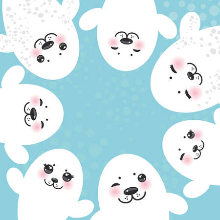 pups: card design Funny white fur seal pups, cute winking seals with pink cheeks and big eyes. Kawaii albino animals on blue background. Vector illustration Illustration