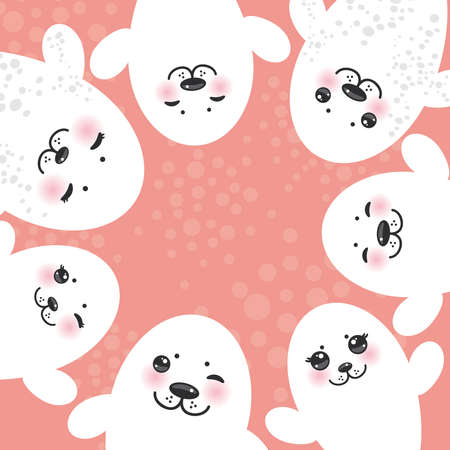 cheeks: card design Funny white fur seal pups, cute winking seals with pink cheeks and big eyes. Kawaii albino animals on pink background. Vector illustration