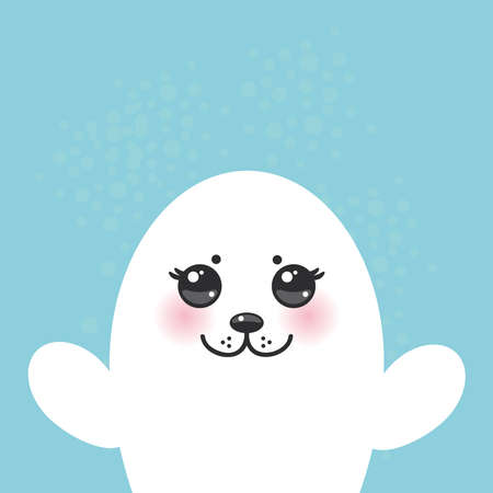 pups: card design Funny white fur seal pups, cute seals with pink cheeks and big eyes. Kawaii animals albino on blue background. Vector illustration Illustration