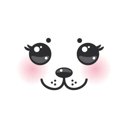 ojos negros: Kawaii albino animal hocico blanco divertido con las mejillas rosadas y grandes ojos negros. Ilustraci�n vectorial Vectores