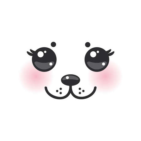 Kawaii funny albino animal white muzzle with pink cheeks and big black eyes. Vector illustration