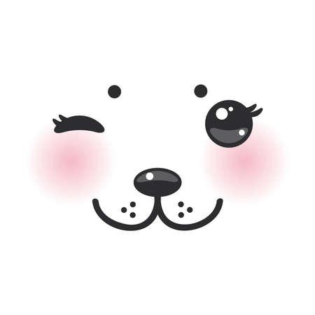 FOCAS: Kawaii albino animal hocico blanco divertido con las mejillas rosadas y ojos parpadeantes. Ilustraci�n vectorial