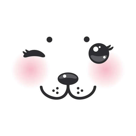 cheeks: Kawaii funny albino animal white muzzle with pink cheeks and winking eyes. Vector illustration