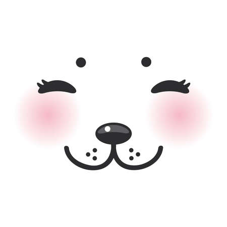 cheeks: Kawaii funny albino animal white muzzle with pink cheeks and closed eyes. Vector illustration