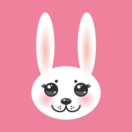 cheeks: Kawaii funny animal muzzle white rabbit on pink background with pink cheeks and big black eyes. Vector illustration