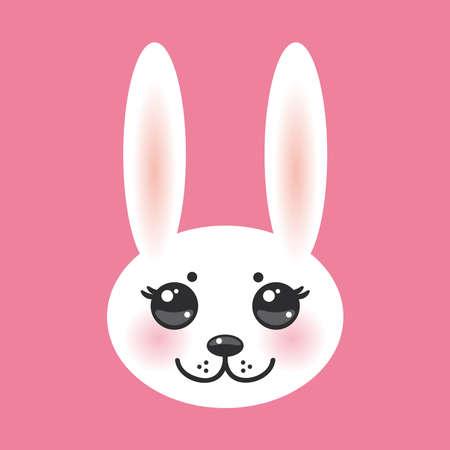 ojos negros: Kawaii hocico animal divertido conejo blanco sobre fondo de color rosa con las mejillas rosadas y grandes ojos negros. Ilustraci�n vectorial