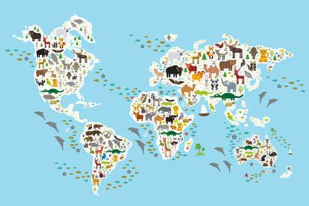 Карта мира мультфильм животных для детей и малышей, животных со всего мира, белые материки и острова на синем фоне океана и моря. Векторная иллюстрация