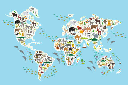 map of the world: Cartoon animal world map for children and kids, Animals from all over the world, white continents and islands on blue background of ocean and sea. Vector illustration