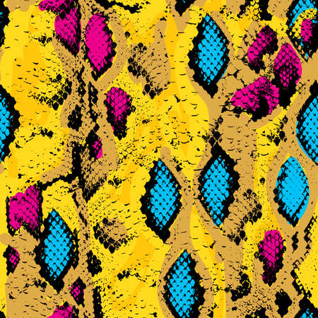 cobra: Snake skin texture. Seamless pattern pink blue orange black yellow background. Vector illustration Illustration