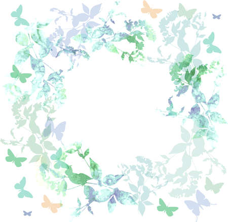 colorful frame: Spring background, Colorful butterflies set wreath with green mint leaves, watercolor. Round banner for text. spring summer card design on white background. Vector illustration