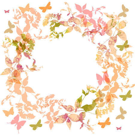 Spring background, Colorful butterflies set wreath with pink leaves, watercolor. Round banner for text. spring summer card design on white background. Vector illustration