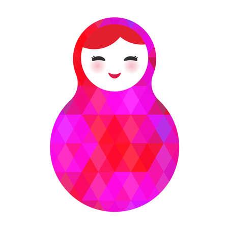 mu�ecas rusas: Mu�ecas matrioska rusa pata los ojos con rombo brillante sobre fondo blanco, colores rosados. Ilustraci�n vectorial