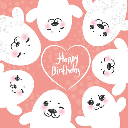 fur seal: Happy birthday card design Funny white fur seal pups, cute winking seals with pink cheeks and big eyes. Kawaii albino animals on pink background. Vector illustration Illustration