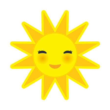 cheeks: funny cartoon yellow sun smiling with closed eyes and pink cheeks, sun on white background. Vector illustration Illustration