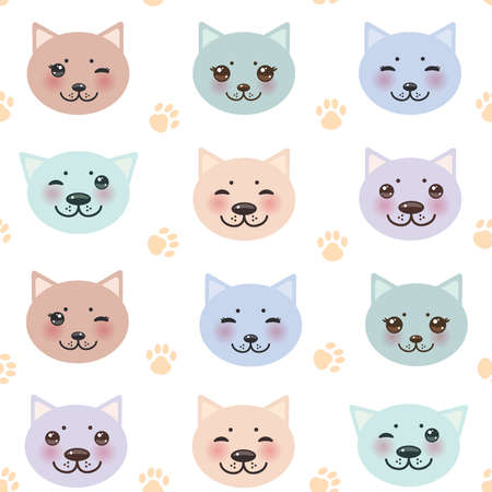 seamless pattern funny cat muzzle and paw prints on white background. Vector illustration
