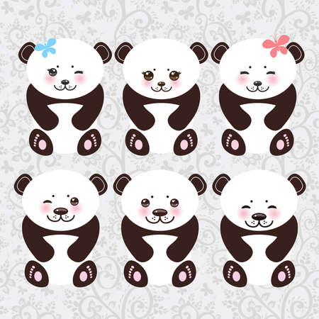 oso panda: Kawaii panda divertido hocico blanco con las mejillas rosadas y grandes ojos negros. Ilustración vectorial Vectores