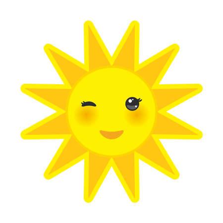 sol caricatura: historieta divertida sol amarillo sonriente y guiñando los ojos y las mejillas rosadas, sol en el fondo blanco. Ilustración vectorial