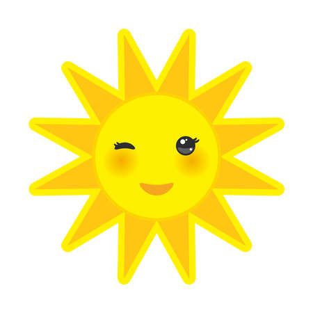 funny cartoon yellow sun smiling and winking eyes and pink cheeks, sun on white background. Vector illustration Illustration