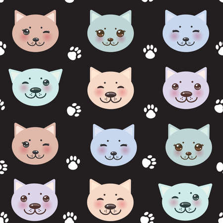 little girl feet: seamless pattern funny cat muzzle and paw prints. Vector illustration