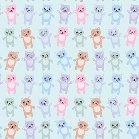 pastel colours: Modelo incons�til de los gatos divertidos colores pastel sobre fondo azul. Ilustraci�n vectorial