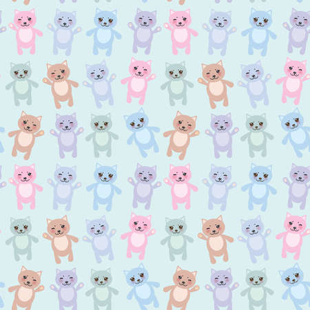 baby shower boy: seamless pattern funny cats pastel colors on blue background. Vector illustration