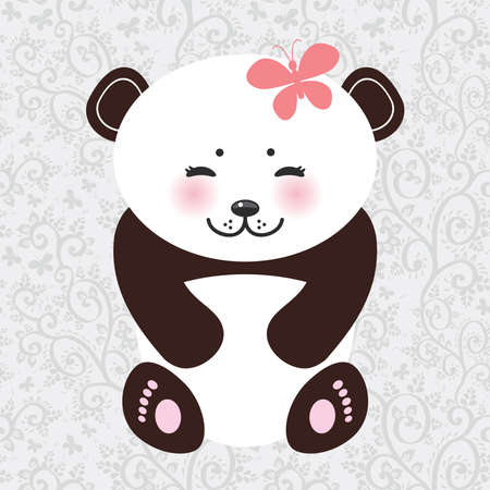 panda: Kawaii funny panda white muzzle with pink cheeks and closed eyes. Vector illustration