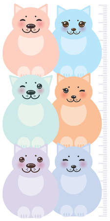 height measure: set funny cats, pastel colors  on white background Children height meter wall sticker, kids measure. Vector illustration