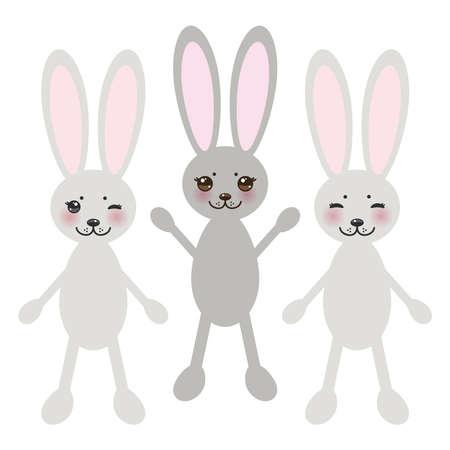 black eyes: coniglio divertente su sfondo bianco, con le guance rosa e grandi occhi neri.