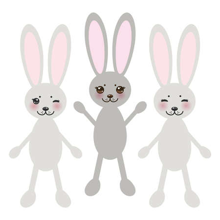 cheeks:   funny rabbit on white background with pink cheeks and big black eyes.