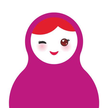 muñecas rusas: Muñecas rusas Matryoshka sobre fondo blanco, colores violetas. Ilustración vectorial