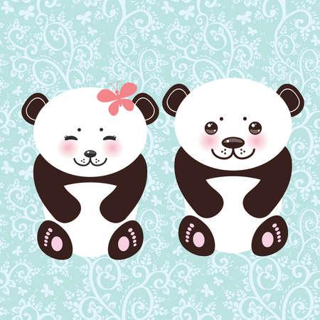 ojos negros: ni�a y ni�o divertido panda hocico blanco con las mejillas rosadas y grandes ojos negros. Ilustraci�n vectorial