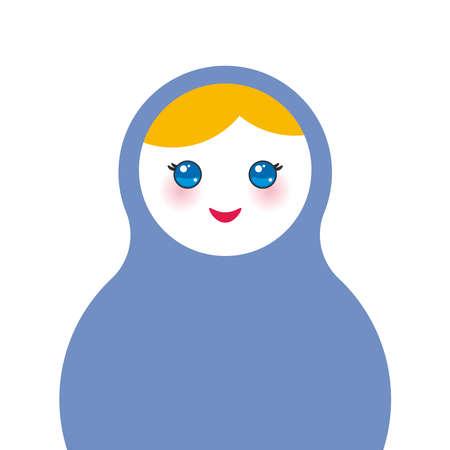 mu�ecas rusas: Mu�ecas rusas Matryoshka sobre fondo blanco, los colores azul. Ilustraci�n vectorial