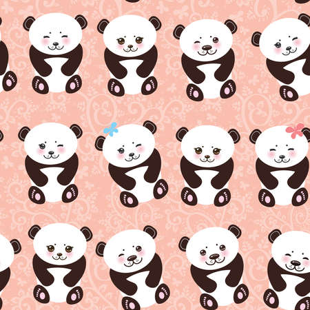 cheeks:   funny panda seamless pattern on pink background, white muzzle with pink cheeks and big black eyes. Vector illustration