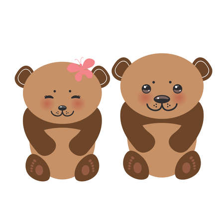 child smile:   funny brown bears girl and boy white muzzle with pink cheeks and big black eyes. Vector illustration