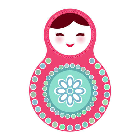 russian dolls: Russian dolls matryoshka on white background, pink blue colors. Vector illustration