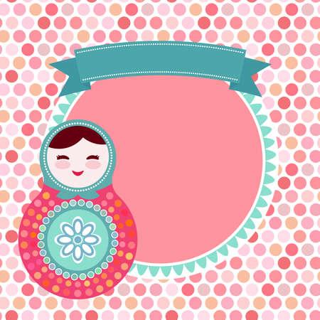 muneca vintage: Muñecas rusas Matryoshka en el fondo blanco, rosa y azul, tarjeta de la vendimia con la rosa backgroun de lunares. Ilustración vectorial Vectores