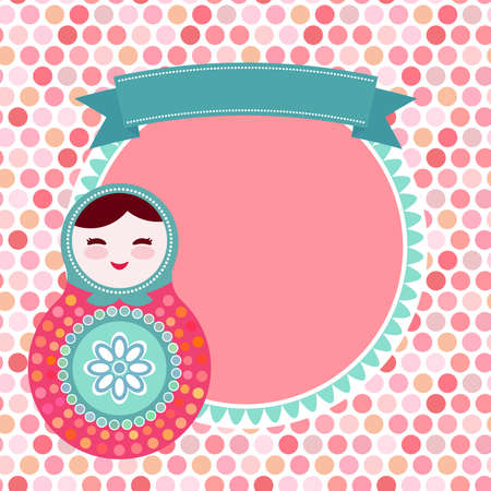 fashion doll: Russian dolls matryoshka on white background, pink and blue colors, vintage card with pink polka dot backgroun. Vector illustration